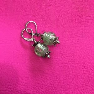 Glass bead and silver lever back earrings